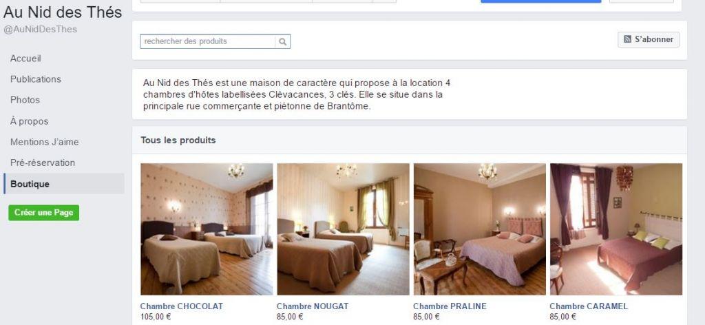 Boutique Facebook pour commerce