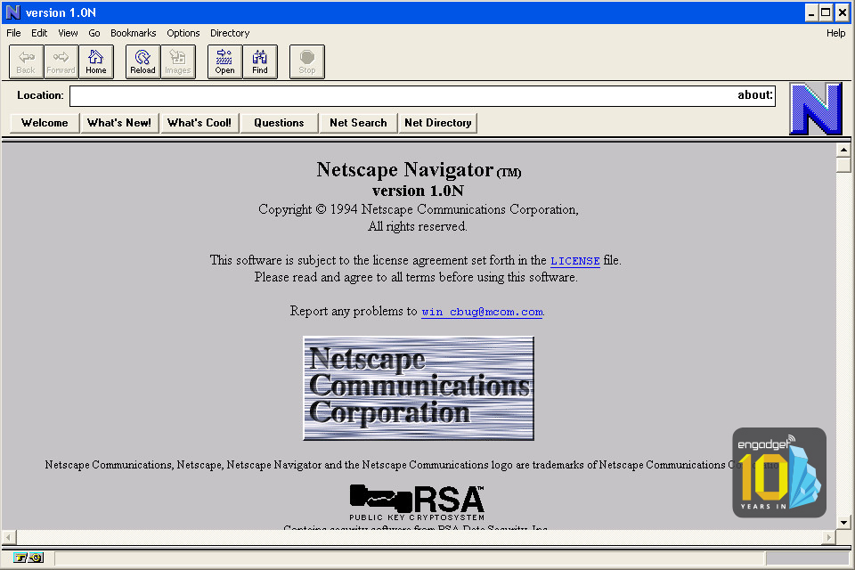 Fossile de la version 1.0N de Netscape