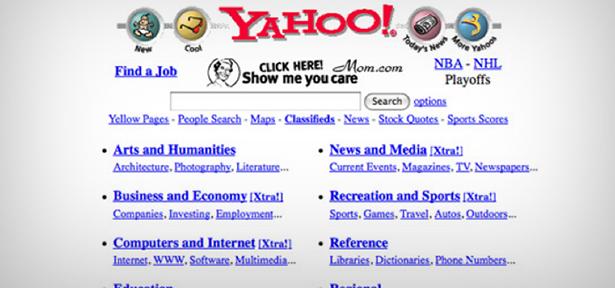 Vestiges d'une des premières versions de Yahoo!